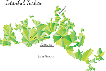 cartographer: Geometric gradient polygonal map of Istanbul, Turkey,  Illustration Stock Photo