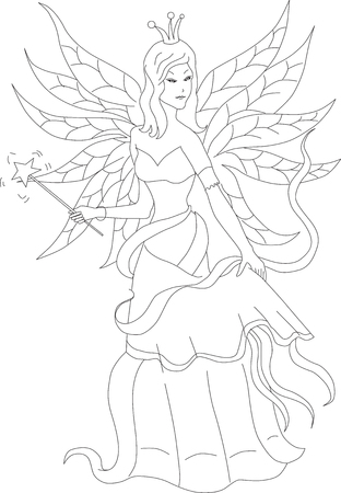 girl magic wand: Coloring book for adult and older children. Coloring page with fairy and magic wand. Outline hand drawn