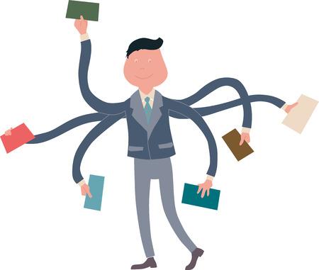 multitasking: Businessman multitasking with multiple arms, hand drawn Illustration