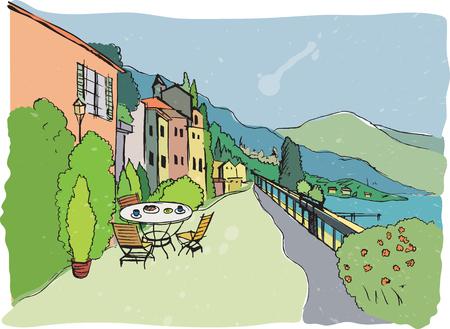 Hand made illustration of Italian cafe Иллюстрация
