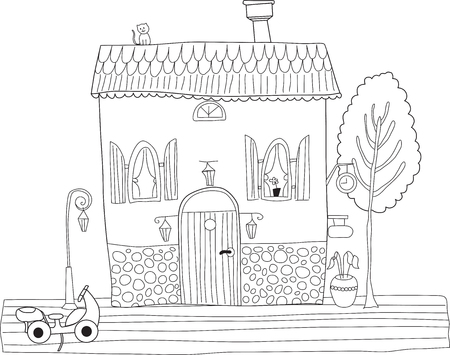 color page: Coloring book for adult and older children. Coloring page with decorative vintage flowers, tree and house. Outline hand drawn Illustration