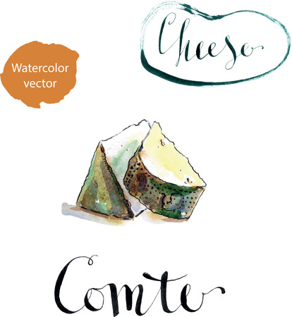 european alps: Portion of Comte fort Cheese, Traditional French cheese, watercolor, hand drawn Stock Photo
