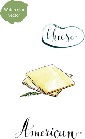 gouda: A stack of slices of American cheese, watercolor, hand drawn