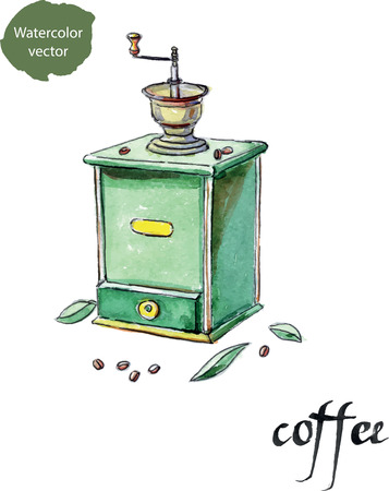 coffee grinder: Vintage manual old coffee grinder and coffee beans with leaves, watercolor, hand drawn Stock Photo
