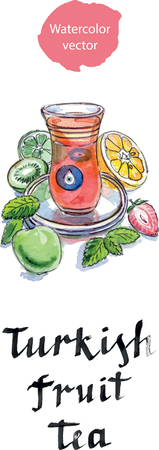 balm: Turkish fruit tea in traditional glass cup with fresh fruit and lemon balm, watercolor, hand drawn