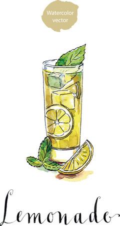 lemon juice: Glass of lemonade or lemon juice with ice cubes and sliced lemon, watercolor, hand drawn
