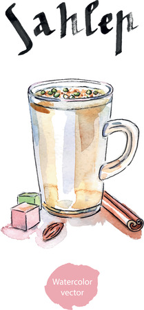 middle eastern food: Sahlab Salep hot drink, watercolor, hand drawn - vector Illustration