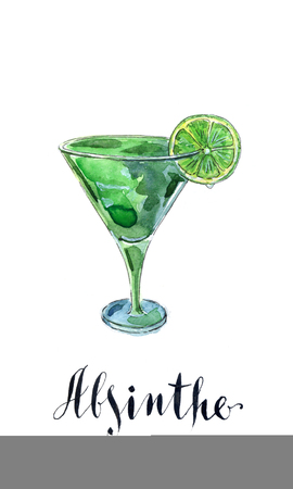 voluptuous: Glass of absinthe with lime, hand drawn, watercolor - Illustration Stock Photo