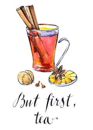 clove: Glass of Hot winter tea with orange, cinnamon, anise, clove and walnut, watercolor, hand drawn - Illustration