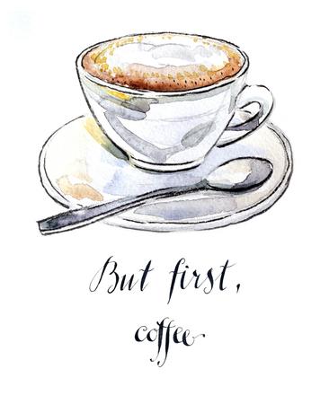 cappuccino cup: Watercolor hand drawn coffee cappuccino - Illustration