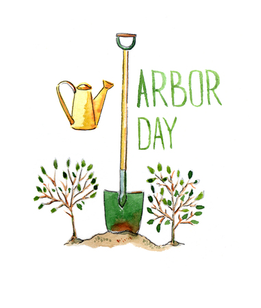 arbor: Arbor day, hand drawn, watercolor - Illustration