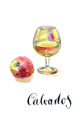 Glass of calvados with red apple, watercolor, hand drawn - Illustration