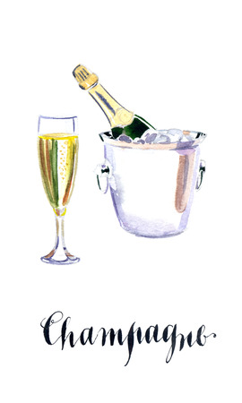 uncork: Glass of champagne with bottle in metal container, watercolor, hand drawn - Illustration Stock Photo