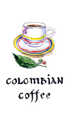 cafe colombiano: Cup of colombian coffee with coffee beans and leaf, watercolor, hand drawn - Illustration