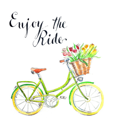 eco flowers basket: Enjoy the ride, watercolor hand drawn bicycle - Illustration Stock Photo