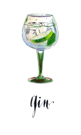 gin: Gin with ice and lime slice