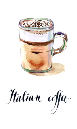 hot cup: Glass of Italian coffee, watercolor, hand drawn - Illustration