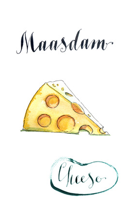 swiss cheese: Piece of maasdam - swiss cheese piece with holes, watercolor, hand drawn - Illustration
