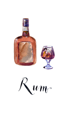 bourbon whisky: Bottle and glass of rum, hand drawn, watercolor - Illustration Stock Photo
