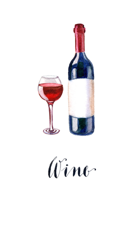 red wine bottle: Red wine bottle and glass, hand drawn, watercolor - Illustration