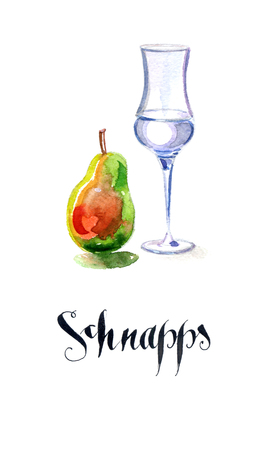 Schnapps glass filled with clear liquid and pear, hand drawn, watercolor - Illustration