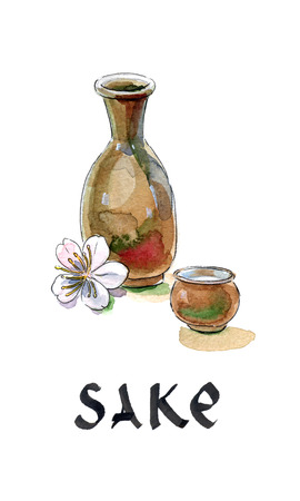 brown rice: Sake, saki bottle and cup, Japanese liquor, hand drawn, watercolor - Illustration