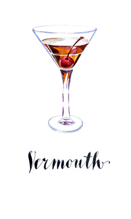 vermouth: Vermouth with cherry, hand drawn, watercolor - Illustration