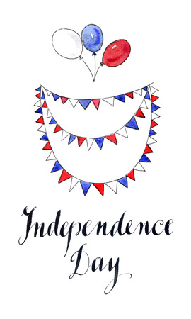 Independence day of Ameriica, watercolor, hand drawn - Illustration