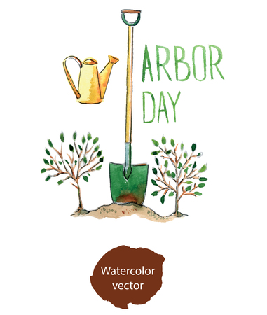 formal garden: Arbor day, hand drawn, watercolor - Illustration