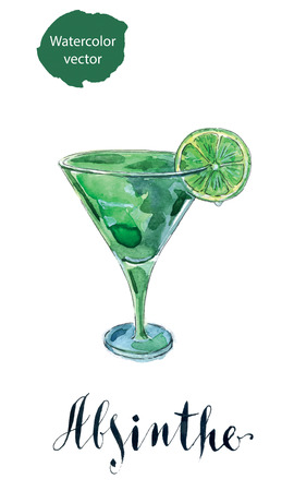 voluptuous: Glass of absinthe with lime, hand drawn, watercolor - Illustration Illustration