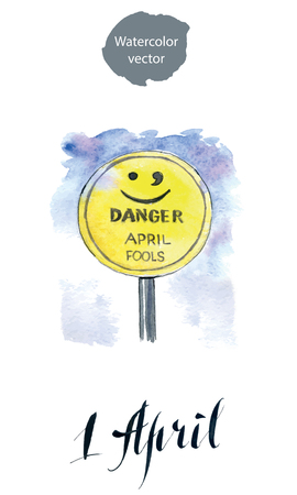 goof: Warning road sign with a warning of an April Fool ahead concept against a partly cloudy sky background, hand drawn, watercolor - Illustration Stock Photo