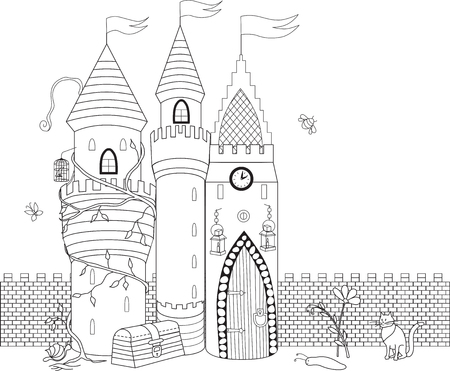 toy chest: Coloring book for adult and older children. Coloring page with decorative vintage flowers, tree and castle. Outline hand drawn Illustration