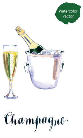 uncork: Glass of champagne with bottle in metal container, watercolor, hand drawn - Illustration Illustration