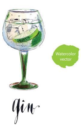Ginebra con hielo y una rodaja de limón, acuarela, dibujado a mano - ilustración vectorial