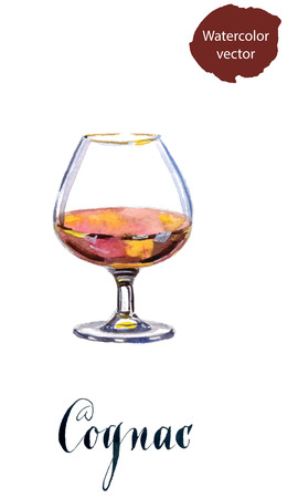 cognac: Glass of cognac, watercolor, hand drawn - vector Illustration
