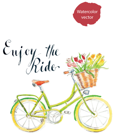 eco flowers basket: Enjoy the ride, watercolor hand drawn bicycle - vector Illustration