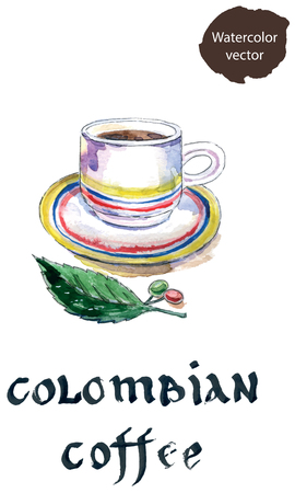 cafe colombiano: Cup of colombian coffee with coffee beans and leaf, watercolor
