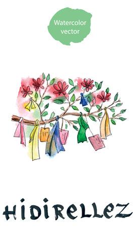 pistil: Blossom flowers, Turkish holiday Hidirellez, in English it means spring meeting Illustration