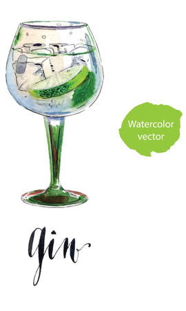 Gin with ice and lime slice, watercolor Ilustração