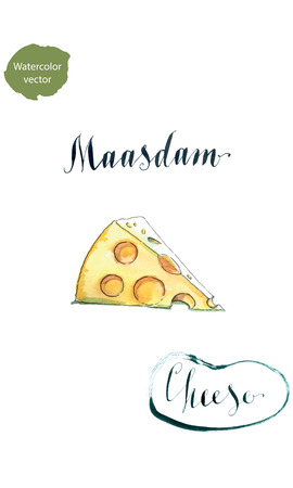 swiss cheese: Piece of maasdam - swiss cheese piece with holes, watercolor Illustration