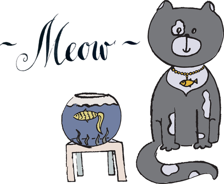 meow: Meow, gray cat with gold fish Illustration
