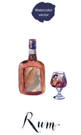 Bottle and glass of rum