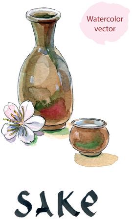 Sake, saki bottle and cup, Japanese liquor