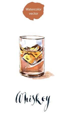 ウイスキーと氷をグラス  イラスト・ベクター素材