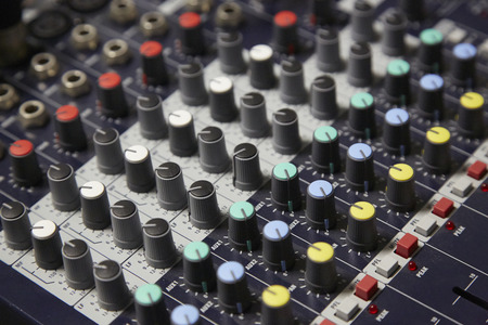 sound recording equipment: Mixing console, sound music controller Electric Mixer Recording Studio Audio Equipment Digital Recorder Stock Photo