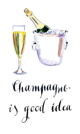 drawn metal: Glass of champagne with bottle in metal container, watercolor, hand drawn - Illustration Stock Photo