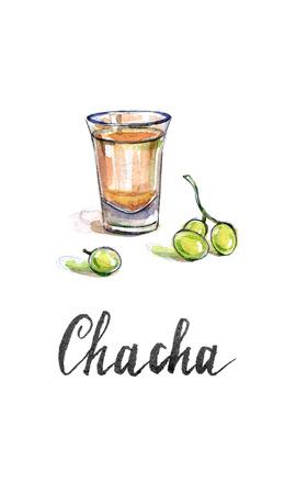 georgian: Glass of georgian vodka chacha with grape, hand drawn - watercolor Illustration