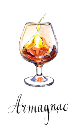 delectation: Glass of armagnac, hand drawn - watercolor Illustration Stock Photo