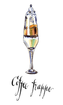 cold coffee: Wineglass of cold coffee frappe, hand drawn - watercolor Illustration