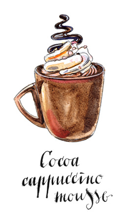 cappuccino cup: Glass of cocoa cappuccino mousse, hand drawn - watercolor Illustration